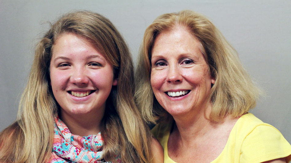 In a StoryCorps conversation that aired on NPR this morning, Erika (left) talks with her mom about attending high school while living in a car. Image from StoryCorps.