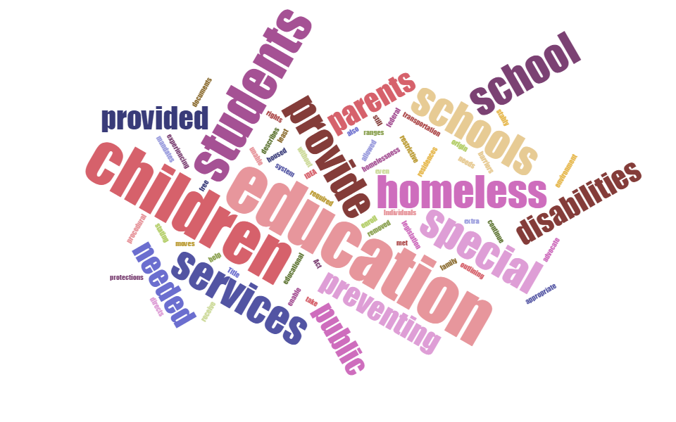 """We hope this series takes a jumble of policy and turns it into helpful strategies for serving students who are homeless and have disabilities. Word cloud using McKinney-Vento and Individuals with Disabilities Education Act definitions, created at <a href=""""http://www.jasondavies.com/wordcloud/"""">jasondavies.com</a>"""