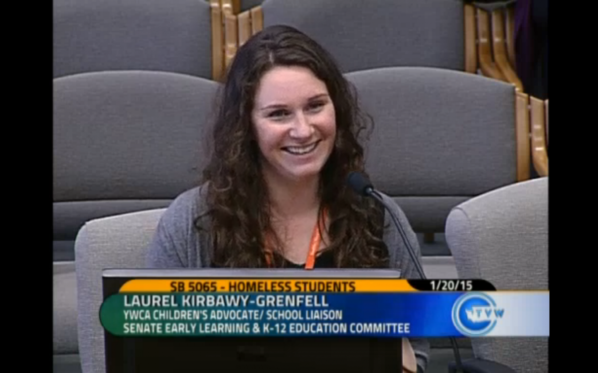 Guest blogger Laurel Kirbawy-Grenfell testifies in favor of the Homeless Student Stability Act before a Senate committee. Laurel writes that the act would help ensure that homeless students's basic needs are met. Image credit: TVW