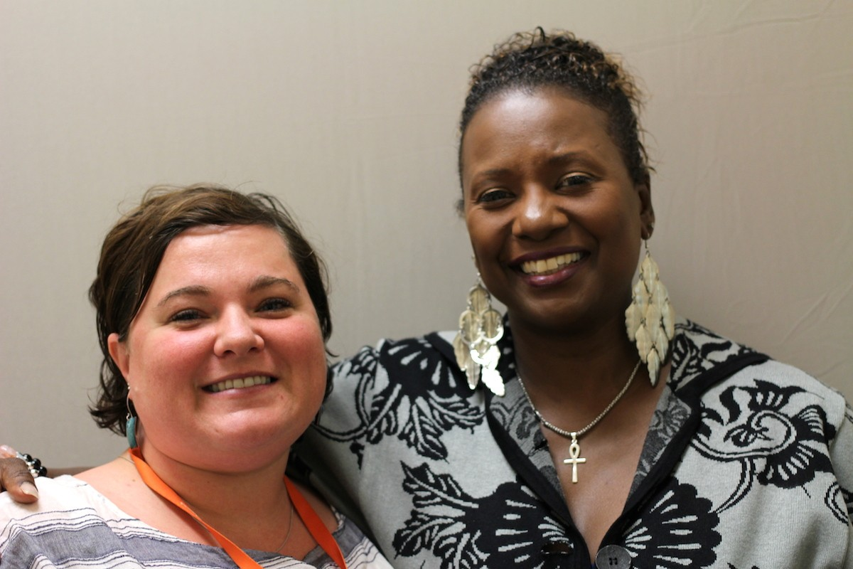 Stephanie Heffner (left) interviewed Dinah Ladd about her job identifying and helping homeless students. Dinah is one of only two homeless education liaisons serving more than 2,100 homeless students in Seattle Public Schools. Image credit: StoryCorps