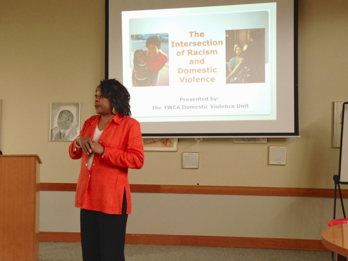 Doris O'Neal manages the domestic violence program at the YWCA of Seattle | King | Snohomish. Her team offered a powerful presentation about the intersection of racism and domestic violence as part of the YWCA Stand Against Racism.